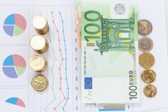 Finansiell och affärsdiagram och grafer Arkivbilder