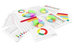 Finansiell pajgraf för affär med för ekonomimateriel för dokument 3d bakgrund för illustration Royaltyfri Fotografi