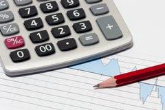 Finansiell planläggning med räknemaskinen royaltyfri bild