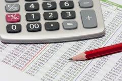 Finansiell planläggning med räknemaskinen och blyertspennan arkivfoton