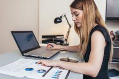 Finansiell rapport för kvinnlig affärskvinnareadind som analyserar statistik som pekar på pajdiagrammet som arbetar på hennes skr royaltyfria foton