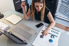 Finansiell rapport för kvinnlig affärskvinnareadind som analyserar statistik som pekar på pajdiagrammet som arbetar på hennes skr arkivfoto