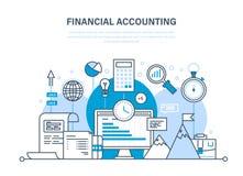 Finansiell redovisning, analys, marknadsforskning, insättningar, bidrag, besparingar, statistik, ledning vektor illustrationer
