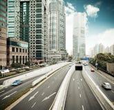 finansiell shanghai för center område trafik royaltyfria foton