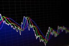 Finansiell sk?rm f?r aktiemarknadgraf- och f?r st?ngdiagram pris p? m?rk bakgrund stock illustrationer