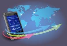finansiell smartphone för apps Arkivbild