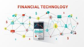 Finansiell teknologi FinTech och diagram för information om affärsinvestering royaltyfri illustrationer