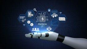 Finansiell teknologiillustrationsymbol och olik graf på roboten, cyborgarm vektor illustrationer