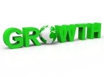 Finansiell tillväxt betyder utveckling och att växa för utvidgning Arkivfoton