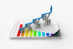 Finansiell tillväxt i procentsats Arkivbild