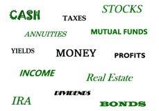 Finansiella beslut: packa ihop och att investera, skatter, etc. Färger: svart och grönt stock illustrationer