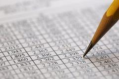 Finansiella data som analyserar - materielbild Royaltyfria Bilder