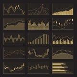 Finansiella diagram för affärsdata Materielanalysdiagram på svart bakgrund Royaltyfria Foton