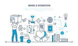Finansiella donationer, hjälp till hälsa, ekonomisk status, bidrag till välgörenhet stock illustrationer