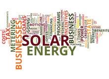 Finansiella incitament för att din affär ska använda begrepp för moln för ord för solenergitextbakgrund stock illustrationer