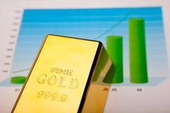 Finansiella indikatorer, diagram, guld- stång Fotografering för Bildbyråer