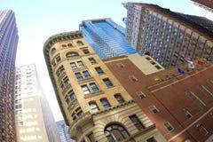 Finansiella områdesbyggnader Arkivbilder