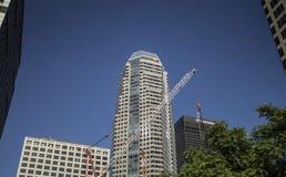 Finansiella områdesbyggnader Arkivfoto