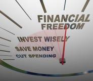 Finansiella pengar för frihetshastighetsmätareInvesment besparingar Arkivbilder