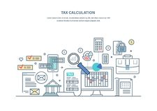 Finansiella skattberäkningar, redovisande forskning som räknar vinst, inkomst, affärsrevision royaltyfri illustrationer