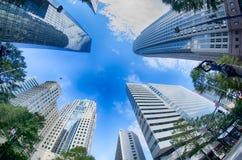 Finansiella skyskrapabyggnader i Charlotte Fotografering för Bildbyråer