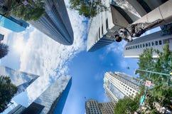 Finansiella skyskrapabyggnader i Charlotte North Carolina Arkivfoto