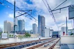 Finansiella skyskrapabyggnader i Charlotte North Carolina USA Arkivfoto
