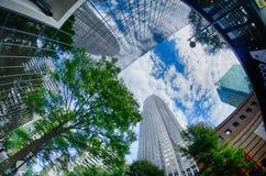 Finansiella skyskrapabyggnader i Charlotte North Carolina USA Fotografering för Bildbyråer