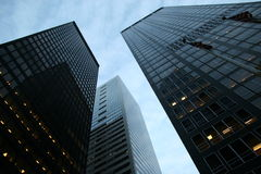 finansiella skyskrapor för område Royaltyfri Fotografi