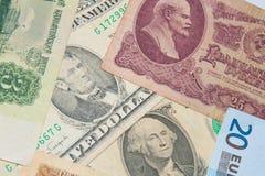 Finansiella supermakter - dollar - euro - rubel Arkivbild
