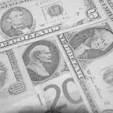 Finansiella supermakter - dollar - euro - rubel Arkivbilder