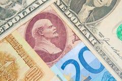 Finansiella supermakter - dollar - euro - rubel Arkivfoto