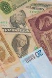 Finansiella supermakter - dollar - euro - rubel Arkivfoton