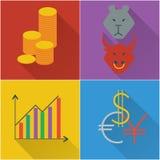 Finansiella symboler i en plan design stock illustrationer