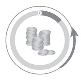Finansiella symboler som kontant visar en minskning En hög av myntar Arkivfoto
