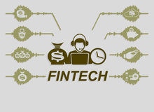 Finansiella teknologier för tecken Arkivbilder