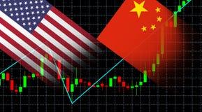 Finansiellt aktiemarknadgrafdiagram av den investeringUSA Amerika flaggan och den Kina flaggan royaltyfri illustrationer