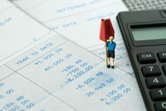 Finansiellt begrepp för budget-, skuld-, skatt- eller uppsättningpengarmål, miniatu arkivfoto
