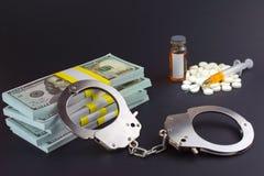 Finansiellt brott i farmaceutisk produktion av droger fotografering för bildbyråer