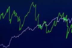 Finansiellt diagram med två enkla linjer på blå bakgrund Royaltyfria Bilder