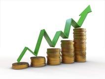 Finansiellt framgångbegrepp, grön pil vektor illustrationer