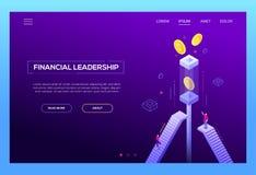 Finansiellt ledarskap - modern isometrisk vektorwebsitetitelrad stock illustrationer