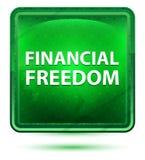 Finansiellt ljust för frihetsneon - grön fyrkantknapp stock illustrationer