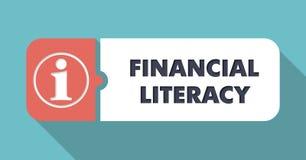 Finansiellt läs-och skrivkunnighetbegrepp i plan design Arkivfoto