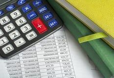 Finansiellt och budget- begrepp Räknemaskin, redovisningsböcker och finansiella dokument på kontorstabellen royaltyfri bild