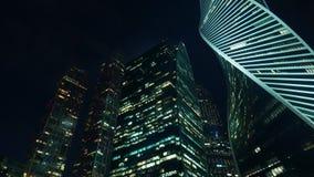 Finansiellt område av staden Panoramautsikt av moderna skyskrapor afton lager videofilmer