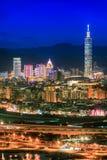 Finansiellt område i Taipei, Taiwan Royaltyfri Bild