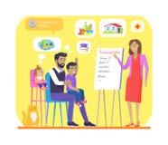 Finansiellt plan för färgrikt baner för ung familj vektor illustrationer