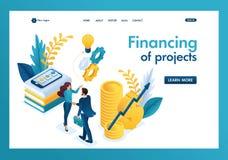 Finansiellt samarbete för isometrisk affär mellan aktieägaren och det idérika laget Malllandningsida royaltyfri foto