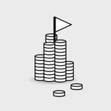 Finansiellt symbolssymbol En hög av pengar med en flagga överst Achie Arkivfoton